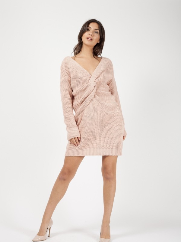 Twist Front Knitted Jumper Dress