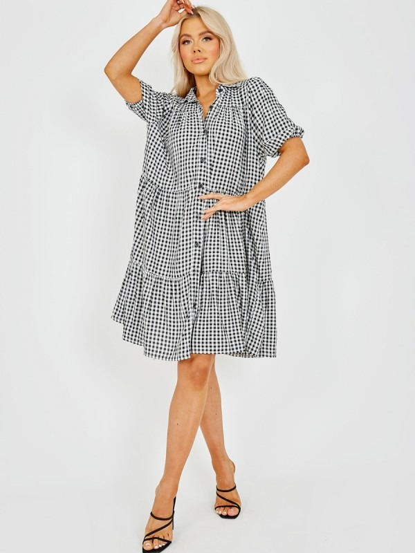 Checked Button-Front Tiered Smock Dress