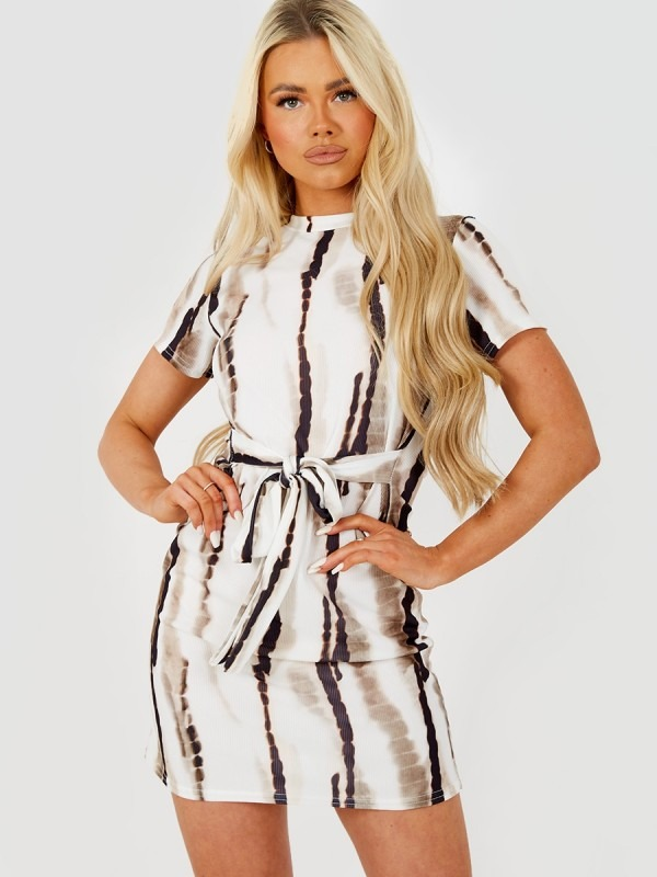 Ribbed Tie-Dye Belted Dress