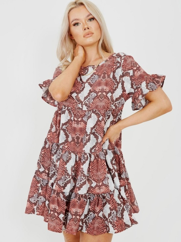New Snake Print Frill Tiered Smock Dress