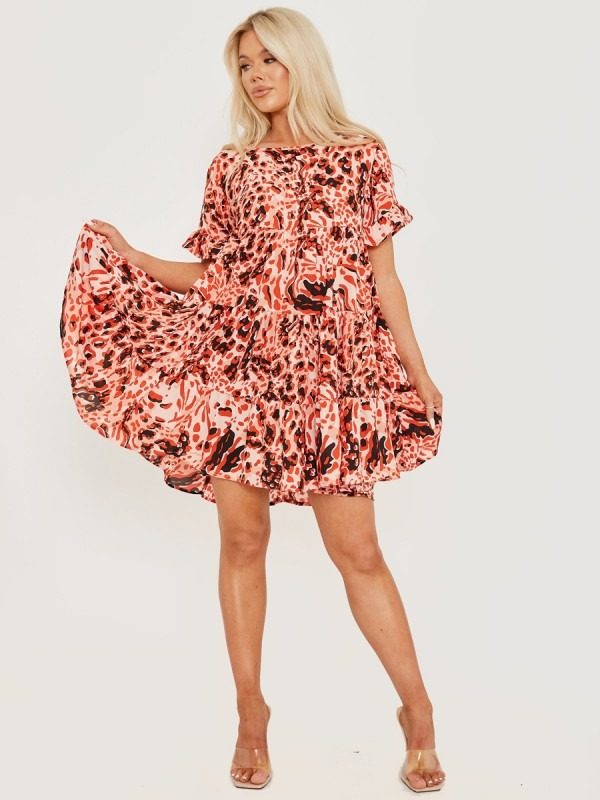Bubble Print Frill Tiered Smock Dress