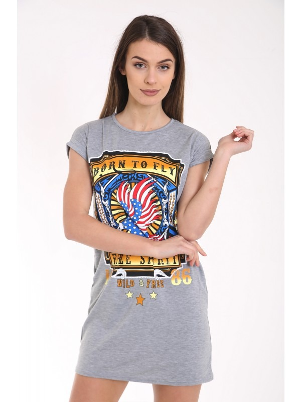 Born To Fly Printed Longline T Shirt Dress
