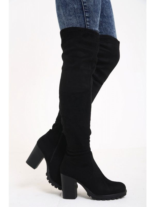 Faux Suede Over-The-Knee Heeled Boots