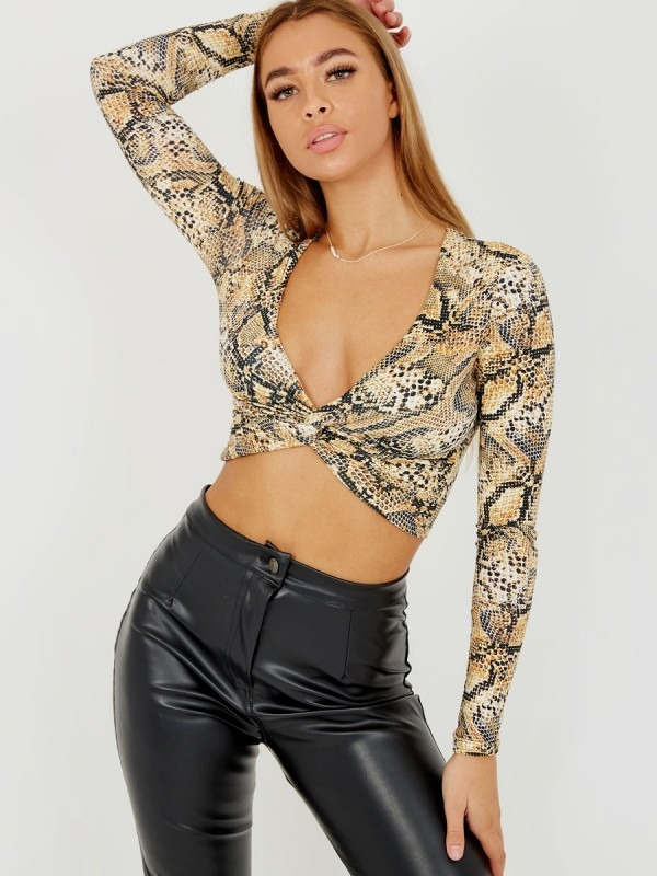 Snake Print Twist Front Crop Top