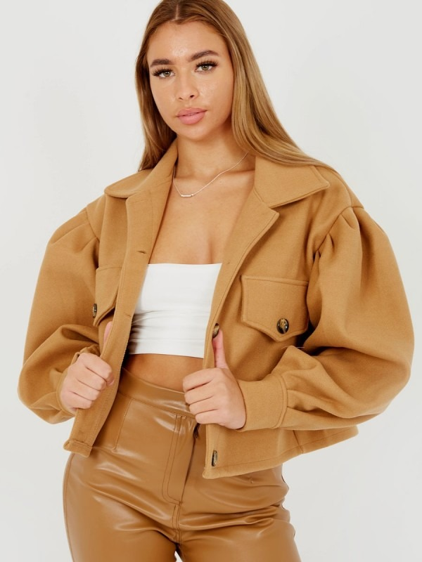 Balloon Sleeve Thick Cropped Jacket