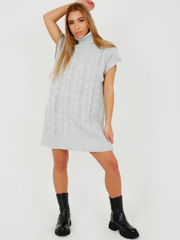 Oversized Roll Neck Cable Knit Dress