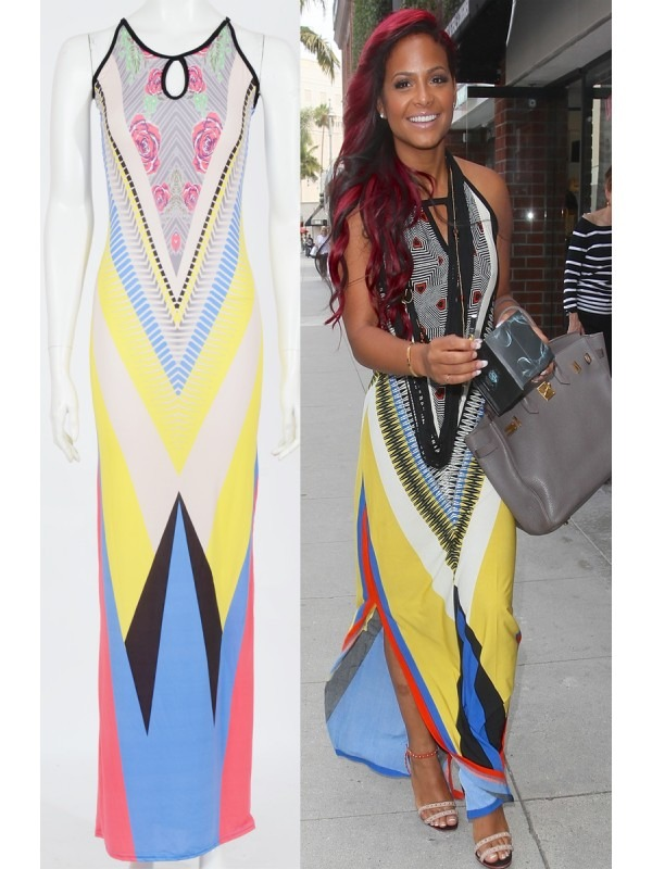 Celebrity Christina Inspired Tribal Aztec Maxi Dress