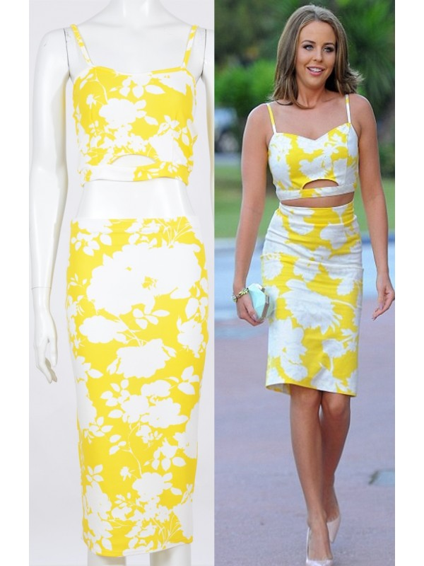 Celebrity Lydia Inspired Floral Print Waffle Fabric Two Piece Set