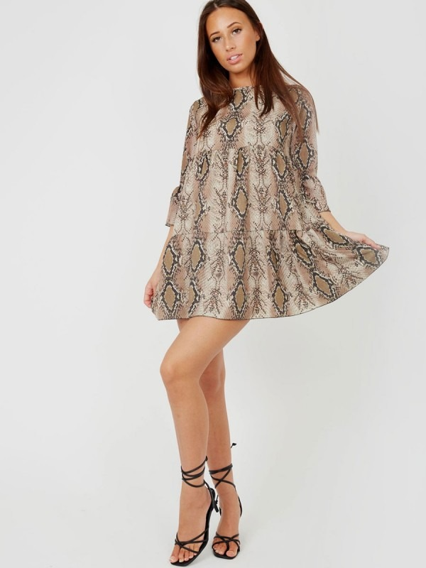 Snake Print Frill Tiered Smock Dress