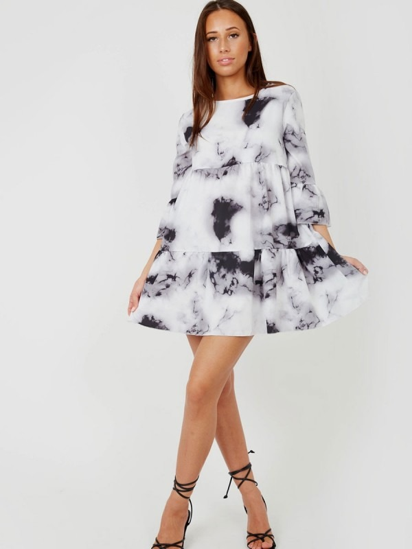 Tie-Dye Print Frill Tiered Smock Dress