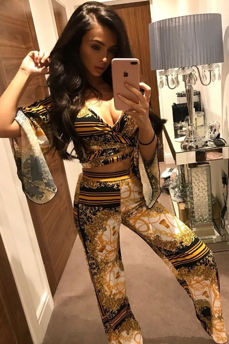 Patterned Print Wide Leg Trousers