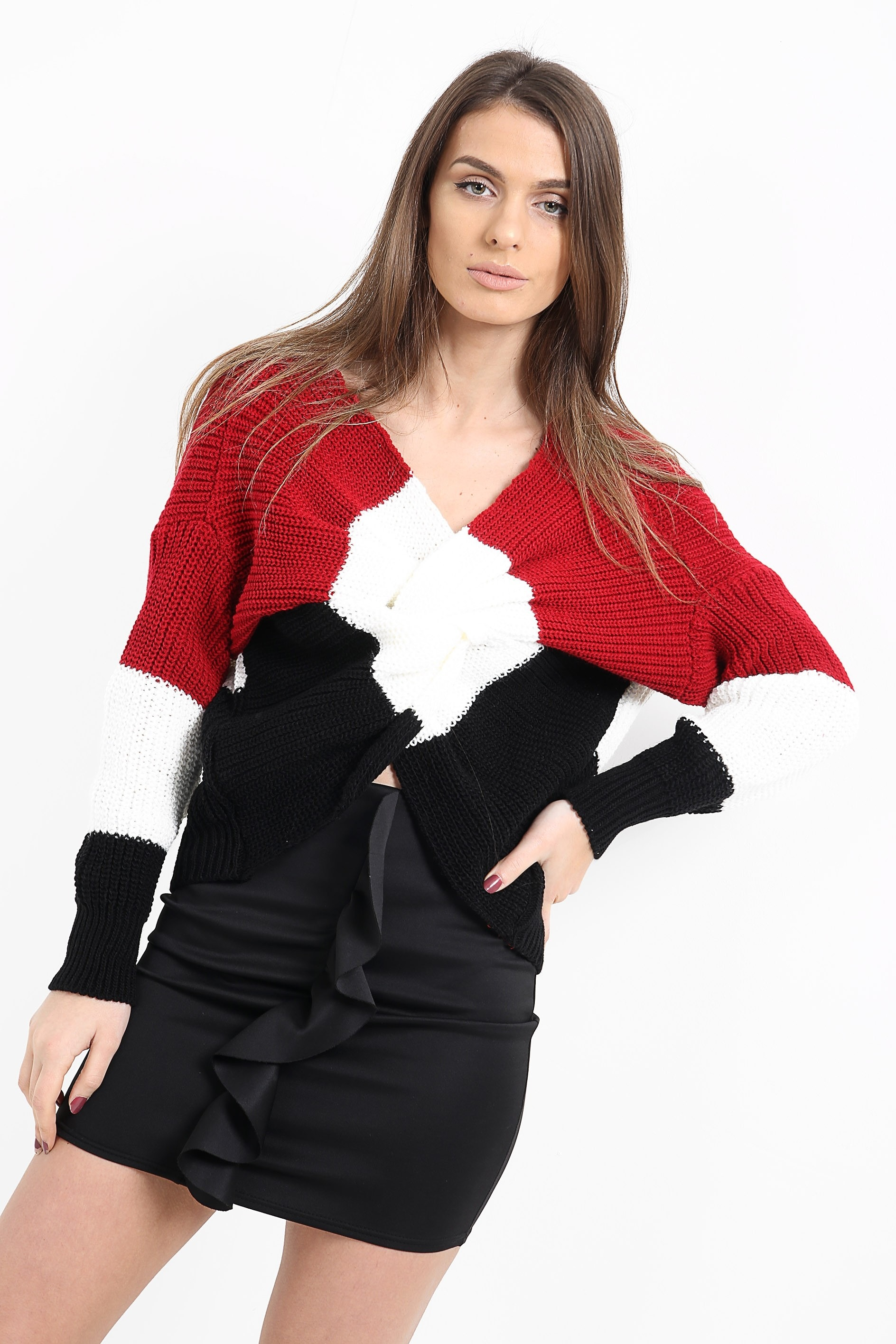 Multi Coloured Twist Knot Knitted Jumper