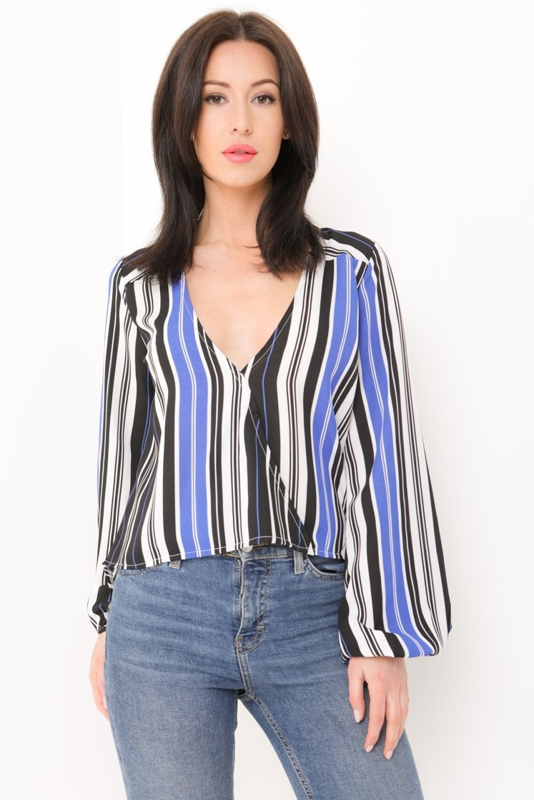 Striped Dip Hem Wrap Front Top
