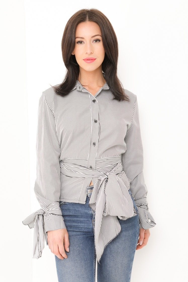 Tie Front And Sleeve Striped Shirt