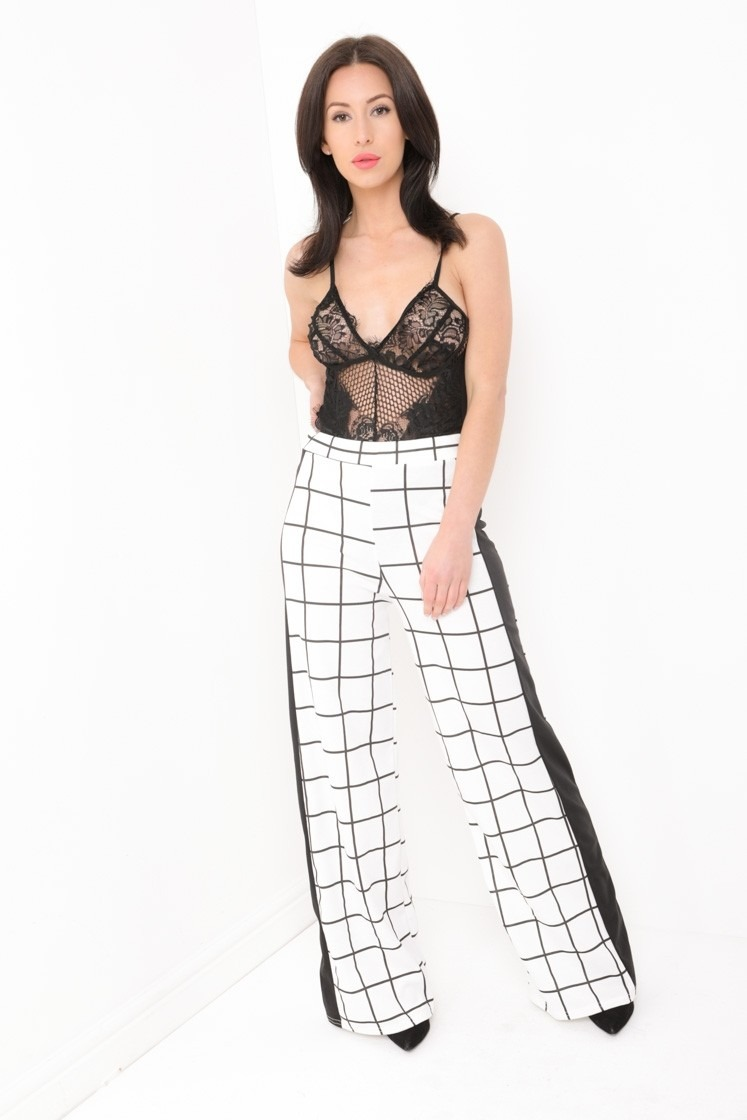 Wide Leg Grid Check Panel Trousers
