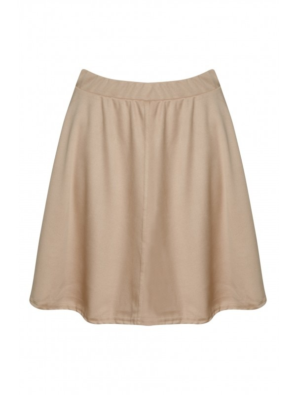 Elasticated Waist Suede Skater Skirt