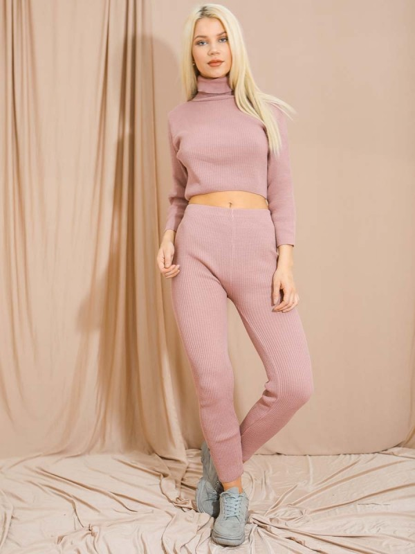 Roll Neck Knitted Ribbed Co-ord