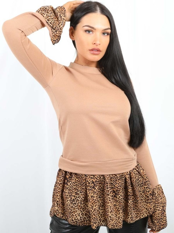 Leopard Print Hem Shirt Detail Top