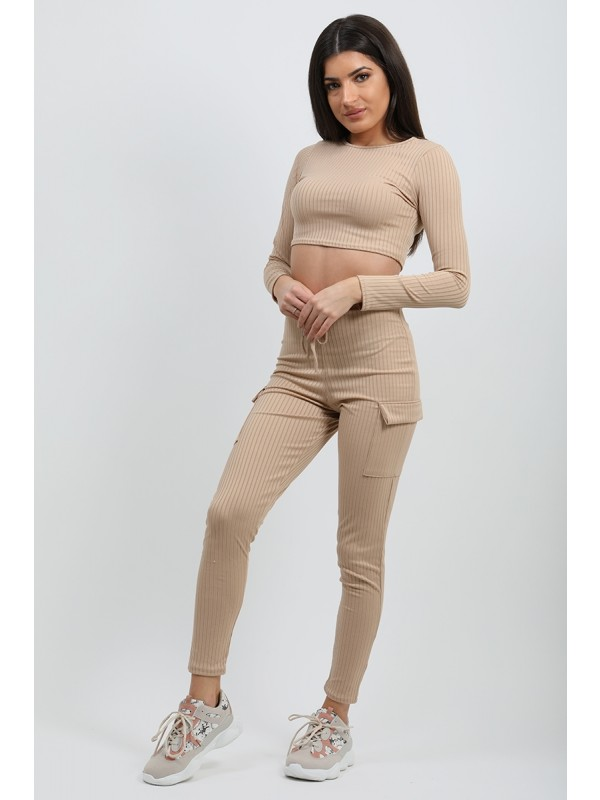 Ribbed Crop Top & Pocket Trouser Co-ord