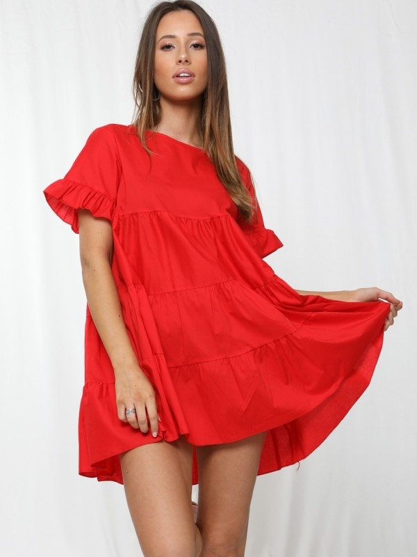 Frill Detail Tiered Smock Dress