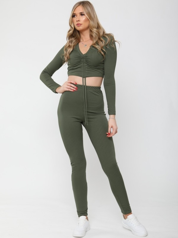Ruched Crop Top & Legging Ribbed Co-ord