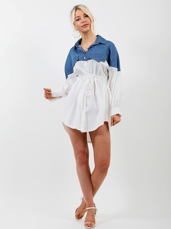 Two Tone Denim Detail Shirt Dress