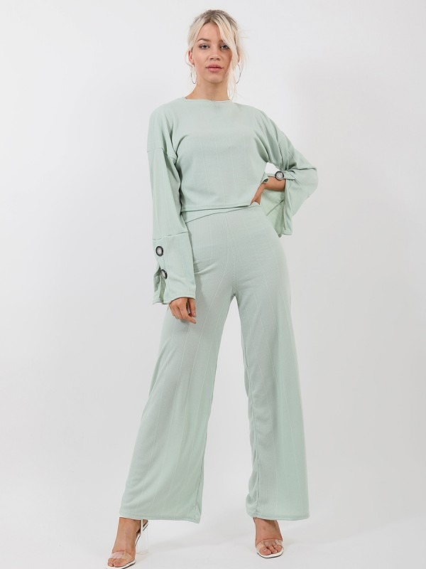 Button Detail Sleeve Ribbed Top & Trouser Co-ord