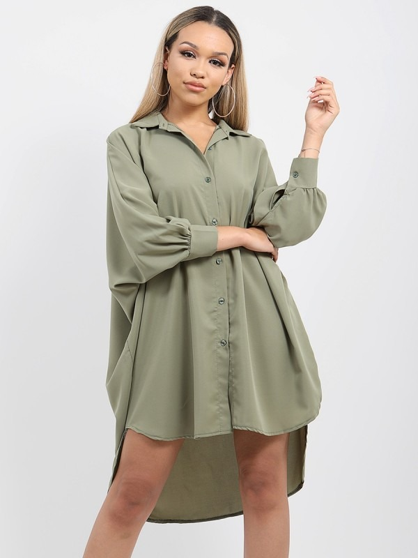 Oversized Dip Hem Shirt Dress