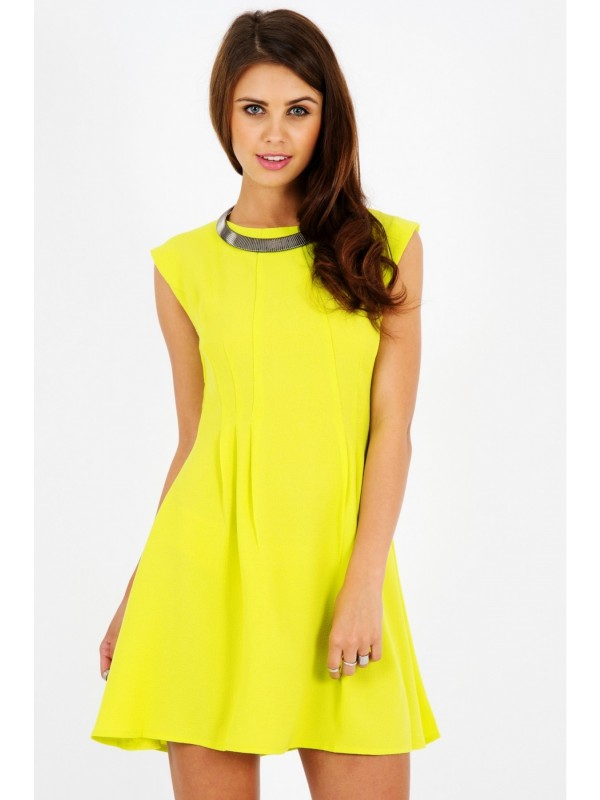 Crepe Seam Detail Flippy Skater Dress
