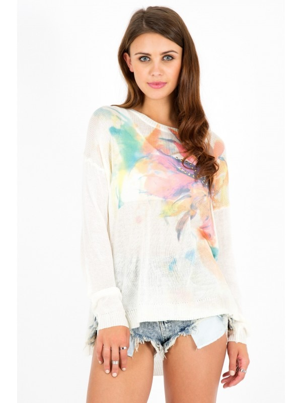 Floral Abstract Print Studded Jumper