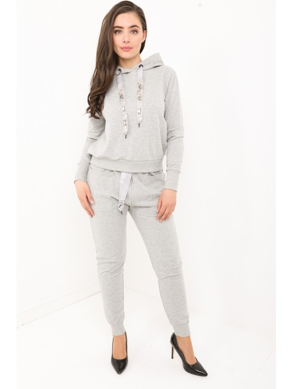 Diamante Embellished Drawstring Hooded Loungewear