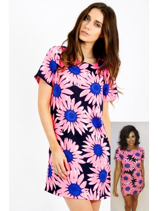 Celebrity Inspired Floral Print Shift Dress