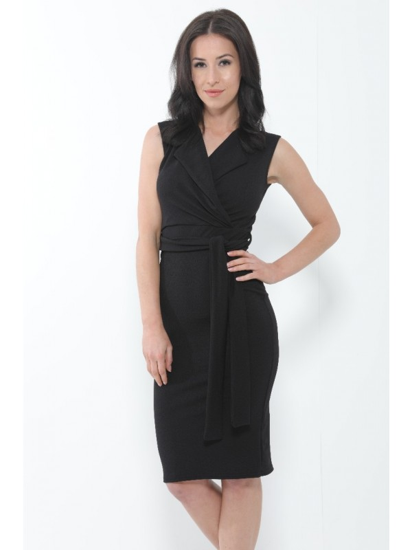 Wrap Front Tie Knot Midi Dress