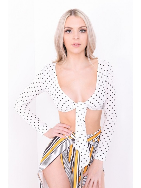 Tie Knot Polka Dot Crop Top