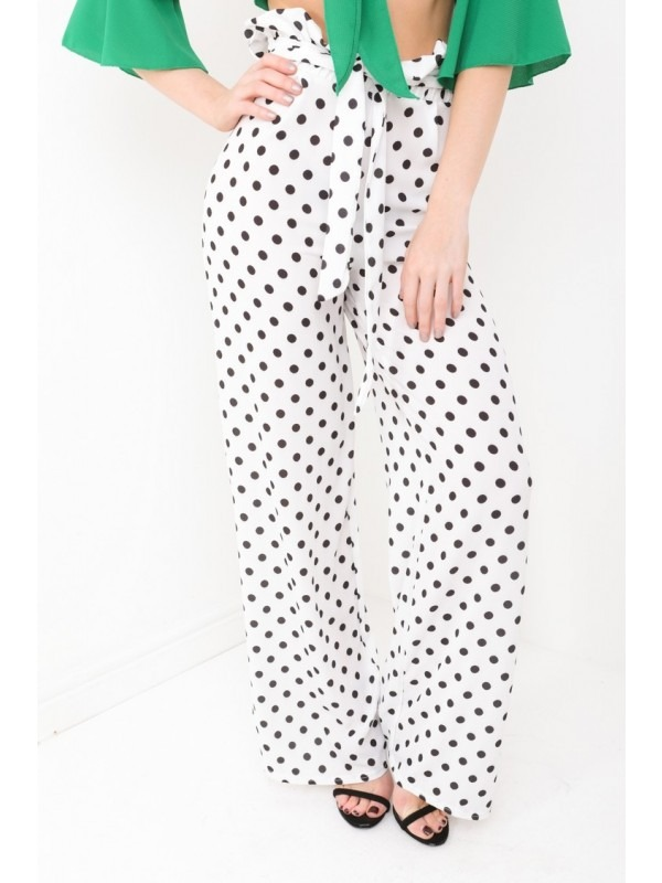 Chiffon Crepe Polka Dot Wide Leg Trousers