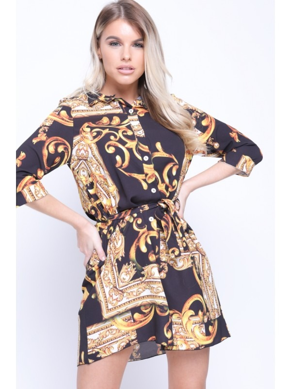 Baroque Pattern Print Shirt Dress