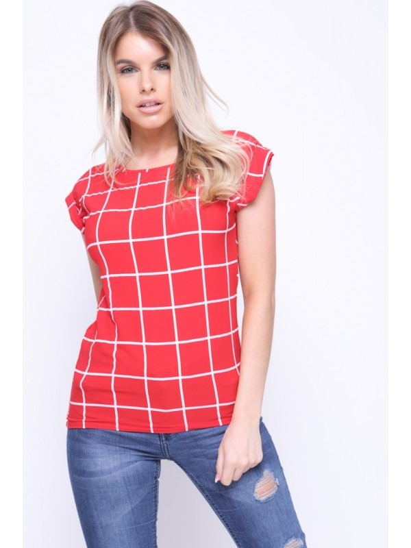 Grid Check Top With Turn Up Sleeve