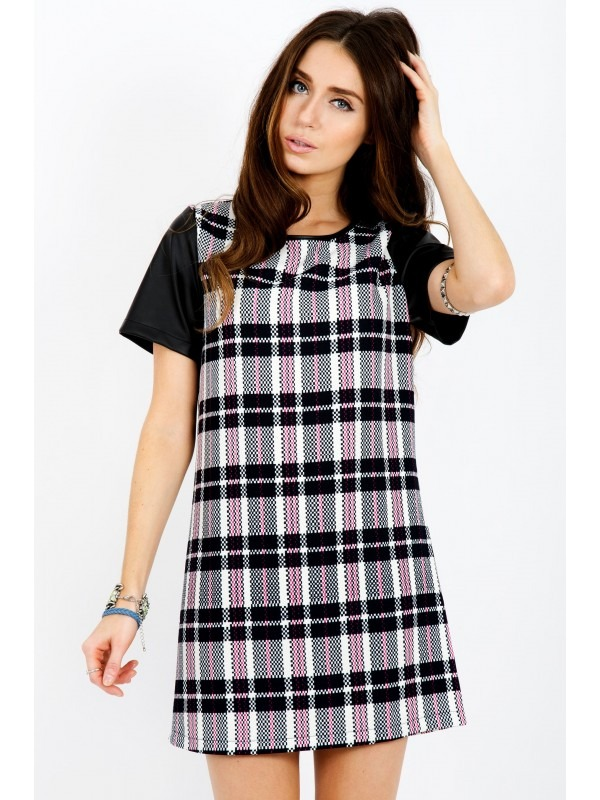 PU Sleeves Chequered Shift Dress