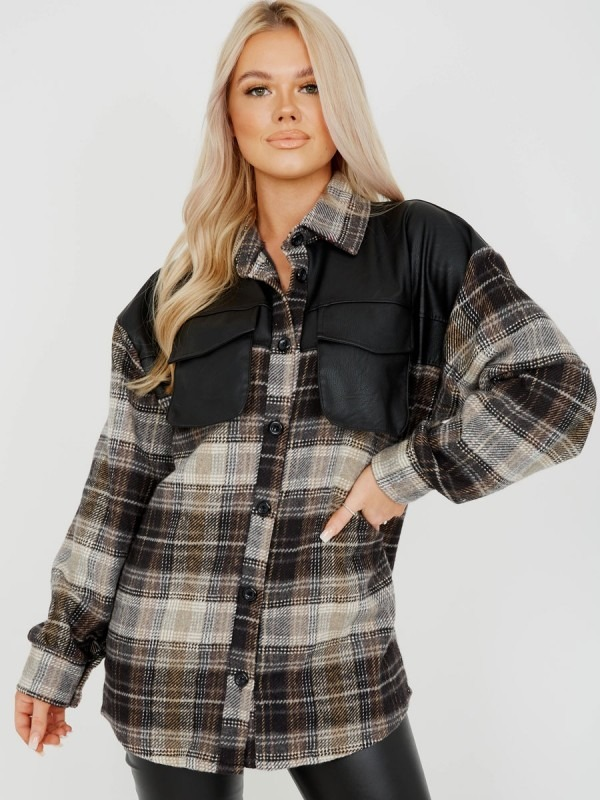 PU Detail Oversized Thick Checked Shacket