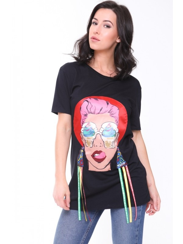 Longline Applique Girl Face T-Shirt With Tassels
