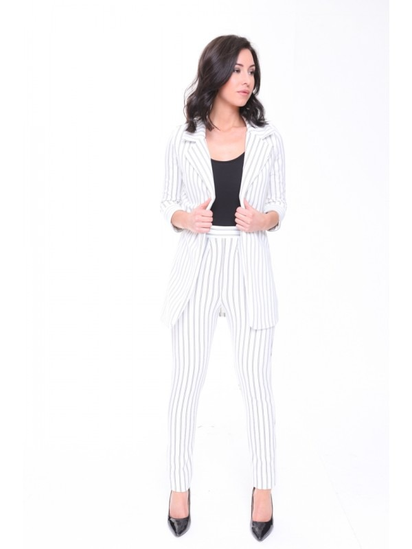 High Waist Pinstripe Trousers