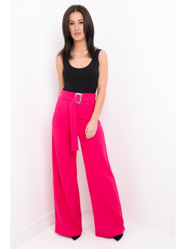Buckle Belt Wide Leg Trousers