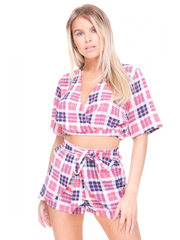 Multi Check Wrap Front Co-ord