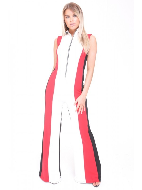 White And Red Striped Zip Front Jumpsuit