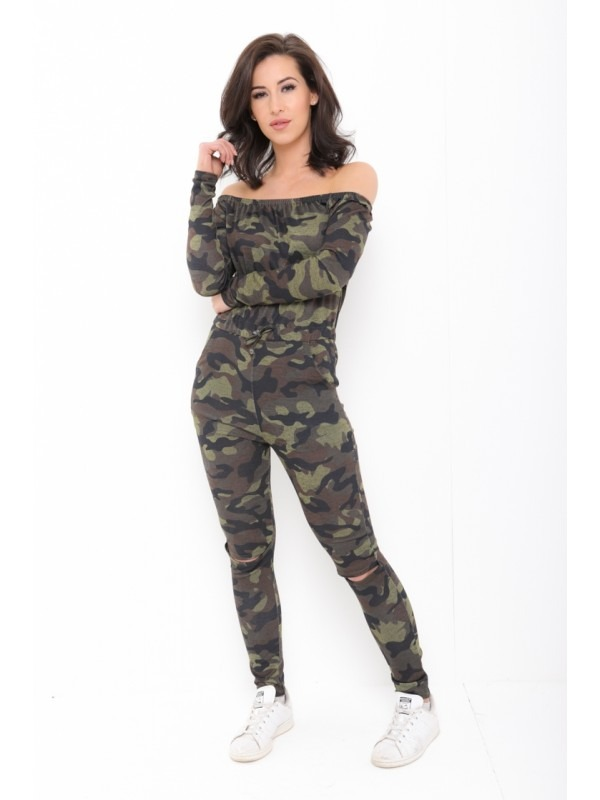 Split Knee Camouflage Jumpsuit