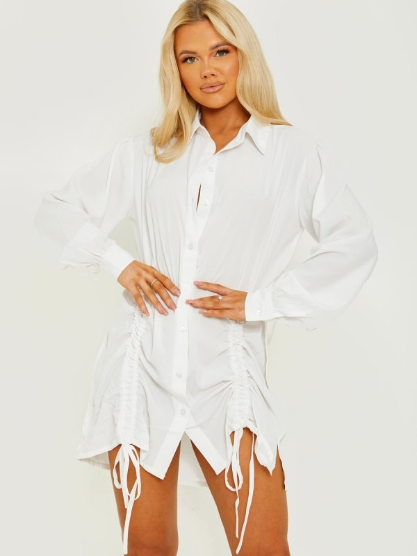 Tunnel Tie Ruched Buttoned Shirt Dress