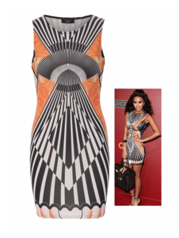 Celebrity Inspired Geometric Print Bodycon Dress