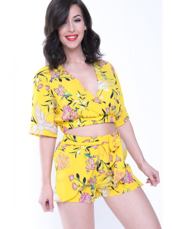 Tropical Print Wrap Front Co-ord