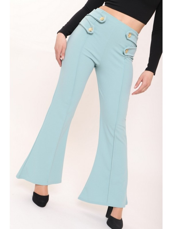 Celeb Louise Gold Button Flared Trousers