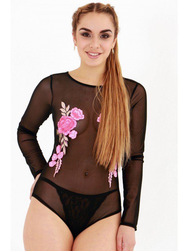 Mesh Floral Embroidered Long Sleeve Bodysuit